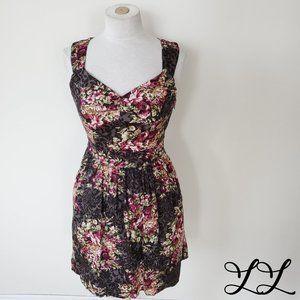 IXIA Modcloth Dress Sleeveless Pink Gray Open Back
